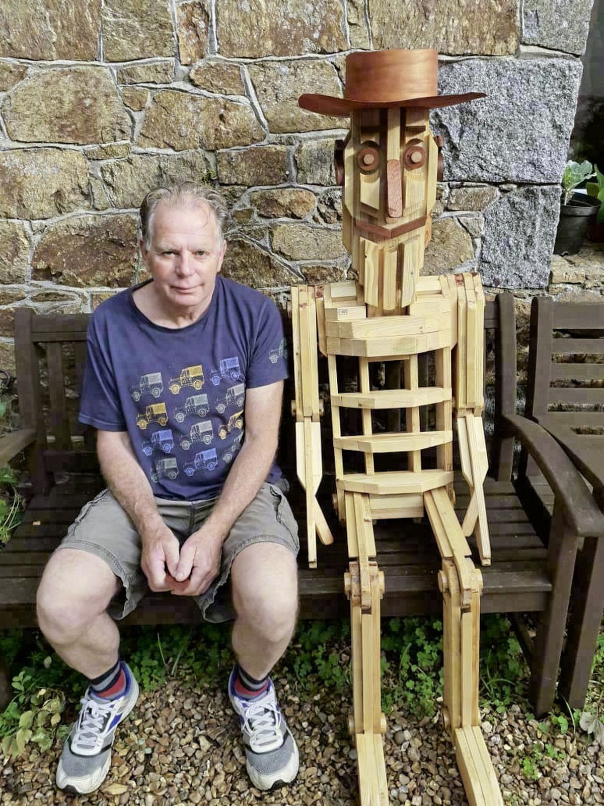 Martin Spratt with the Woody exhibit he created and which won the People's Choice Award at Torteval's 18th Annual Scarecrow Festival. (29810683)