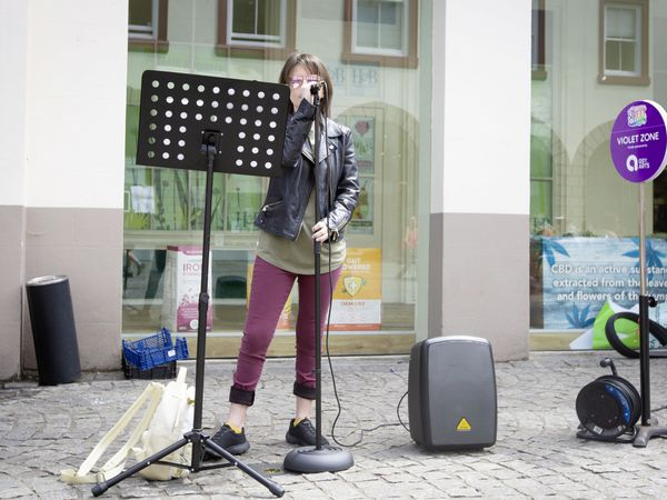 Vocalist Dani Robin, who hopes to have a professional singing career, was one of those performing in the Guernsey Street Festival yesterday. (Picture by Cassidy Jones, 29811086)