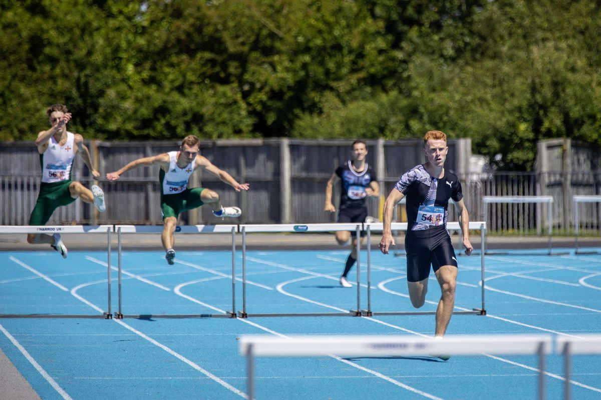 Alastair Chalmers is well clear of the rest of the field in the home straight of yesterday's 300m hurdles race. (Picture by Sophie Rabey, 28459356)