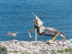 Beach-art unicorn has found a friend