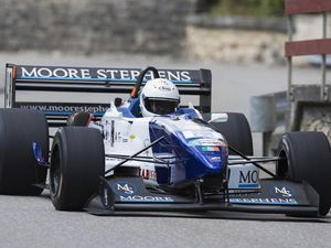 Powershow: Guernsey driver Darren Warwick competing previously in the FIA European Hill Climb Championship.