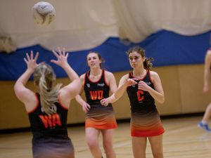 Picture by Sophie Rabey.  06-04-21.  Netball Action at Beaucamps School - Blaze A vs Rezzers Black.. (29408221)