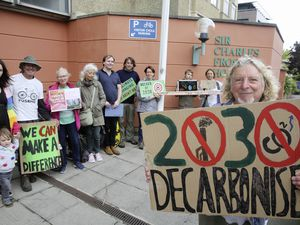 Climate protest outside Frossard House. Nearest to the camera is Alan Bienvenu. (25911923)
