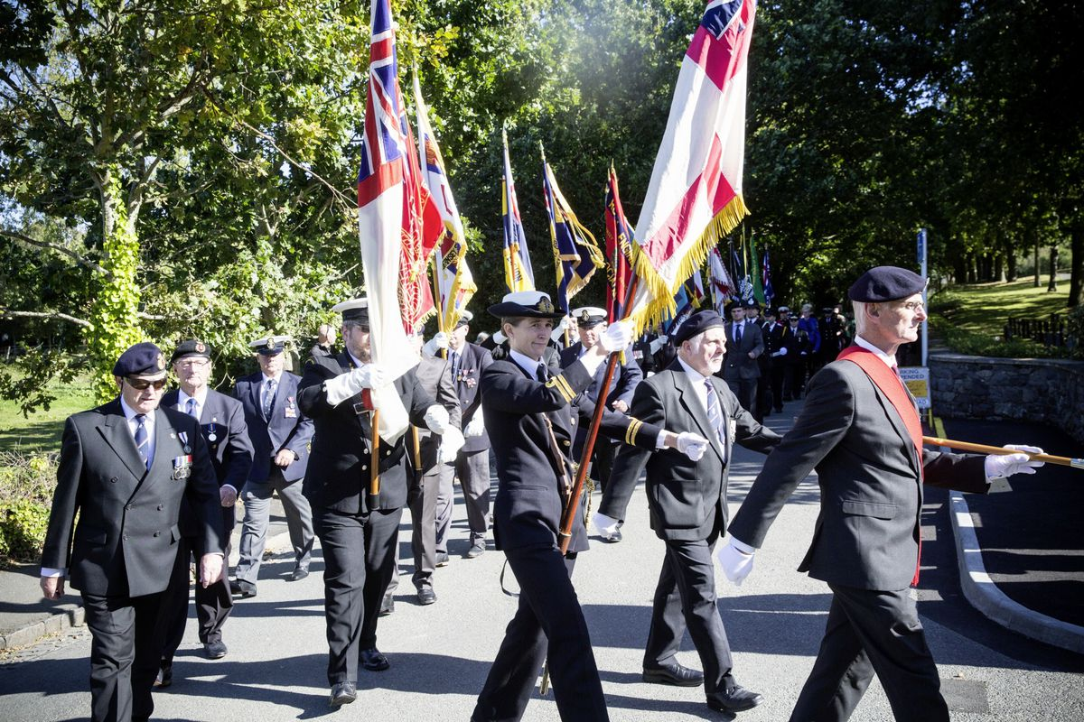Pic by Adrian Miller 27-09-20 Foulon Cemetery. Remembrance service for H.M.S. Charybdis and H.M.S. Limbourne .. (28735075)