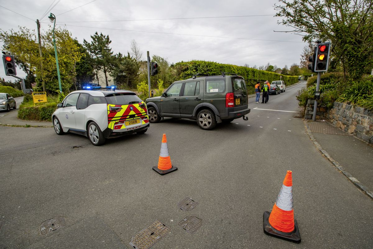Civil Protection Officers were called to assist with the road closure and diverting traffic away from Rectory Hill following a fatal collision. (Picture by Guernsey Press, 29505742)