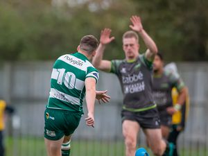 Dan Rice filling the green-and-white No. 10 shirt during last season inter-club 'test series'. He will be starting fly-half for Raiders in National Two South for the first time tomorrow at Footes Lane. (Picture by Martin Gray, 30087611)