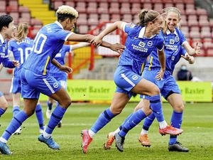 Maya Le Tissier in action for Brighton & Hove Albion against Bristol City in the final game of the FA Women's Super League season at the People's Pension Stadium in Crawley. Maya Le Tissier celebrates scoring her first WSL goal..Picture by Kyle Hemsley / BHAFC, 09-05-21. (29530454)