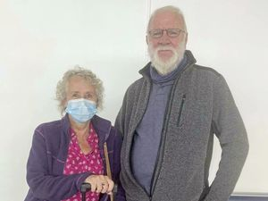 Susan and John Moore, from Worcestershire, were their son for the first time since before the pandemic began and did find flying again strange.(30053347)