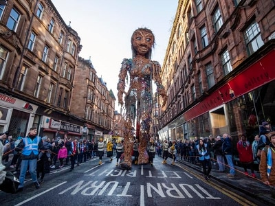 More than 10,000 watch 10-metre high puppet parade through Glasgow