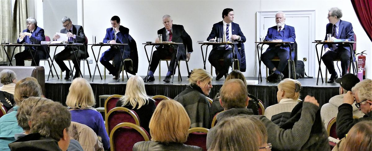 The six candidates who are seeking five seats in the States of Alderney tomorrow at a packed hustings at the Island Hall. (Picture by David Nash)