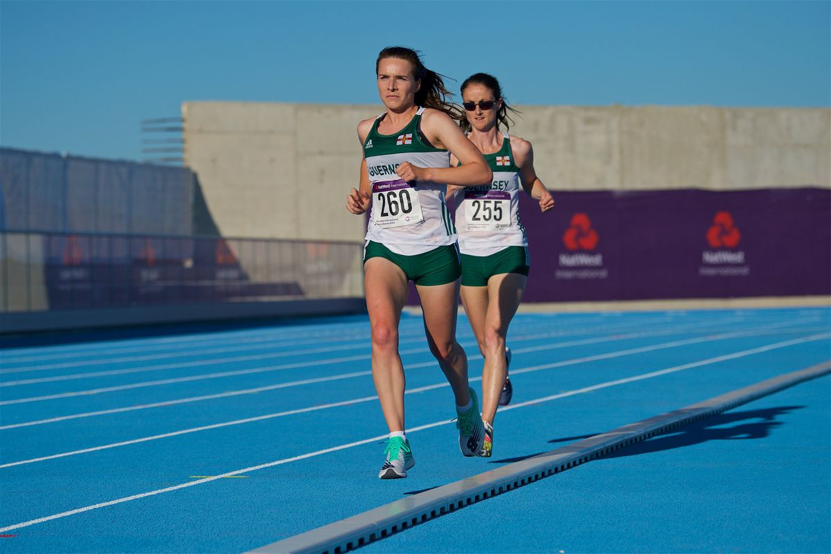 Island Games Gibraltar 2019 IG 2019. Athletics. Women's 10,000m final. L>R eventual winner Sarah Mercier, GSY and second placed Jenny James, GSY                                                              Picture: ROB CURRIE. (26470896)