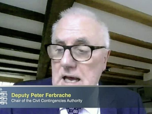 Civil Contingencies Authority chair Deputy Peter Ferbrache at the first virtual press briefing. (29192061)