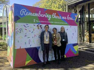 Standing in front of the installation for Dying Matters Week outside the Guernsey Museum at Candie are, left to right, Jo Dowding, the museum's access and learning manager, Denise Ozanne, Sunflower Project bereavement worker, and bereavement support worker Mair Skillett. (Picture by Emily Hubert, 29540015)