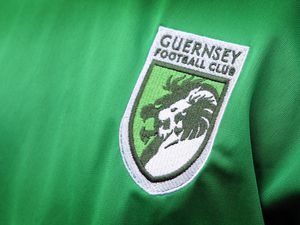 Pic by Tom Tardif 08-07-11. Garenne Stand, Foote's Lane, St Peter Port. The official new Guernsey FC Football kit has been 'unveiled' today. The new Logo on the shirt..REF: IMG_9600.JPG ..GFC... (28545924)