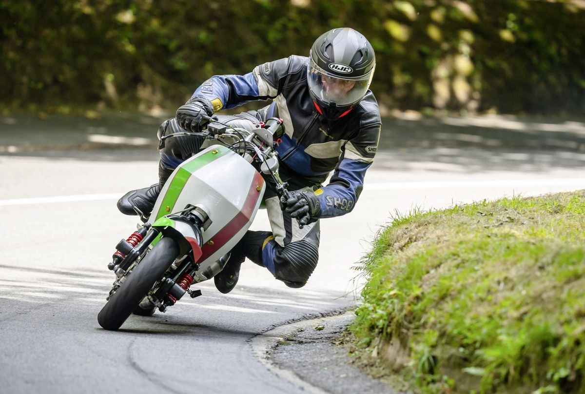 Solitary record-breaker: Jez Mann lowered his own class record riding his modified Lambretta scooter. (Picture by Andrew Le Poidevin, 28534455)