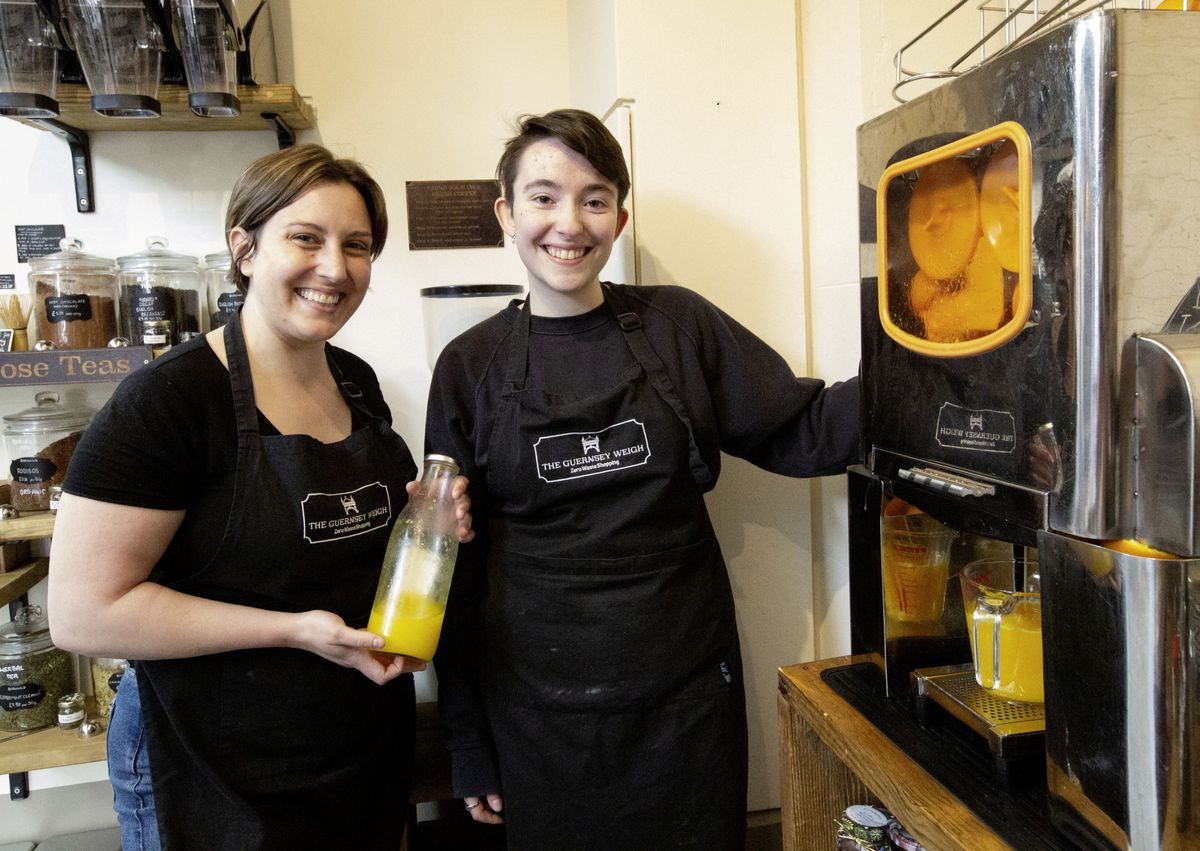 Guernsey Weigh staff Ashley Laymon-Ogier, left, with Sapphire brewer-Marchant. (Picture by Cassidy Jones, 29639253)