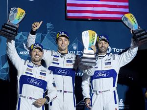 Andy Priaulx and his Ford Chip Ganassi Racing No. 67 Ford GT teammates Harry Tincknell and Jonathan Bomarito finish third in the LMGTE Pro class in the 1000 Miles of Sebring, part of the 2018-19 FIA World Endurance Championship Super Season, 16-03-19..Picture by Drew Gibson Photography. (24166014)