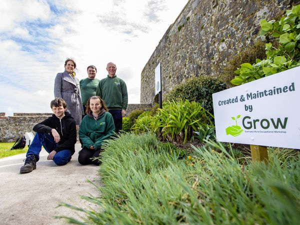 After working successfully at Candie, a team from Grow Ltd have been working on the borders and beds at Castle Cornet. Back, left to right, Helen Glencross, head of Heritage Services, Benjamin Tardif and Grow supervisor Andrew Chandler. Front row, Kieren Trebert and Heather Brown.