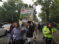 Cricket fan turns up to India vs Pakistan match in Manchester on horseback