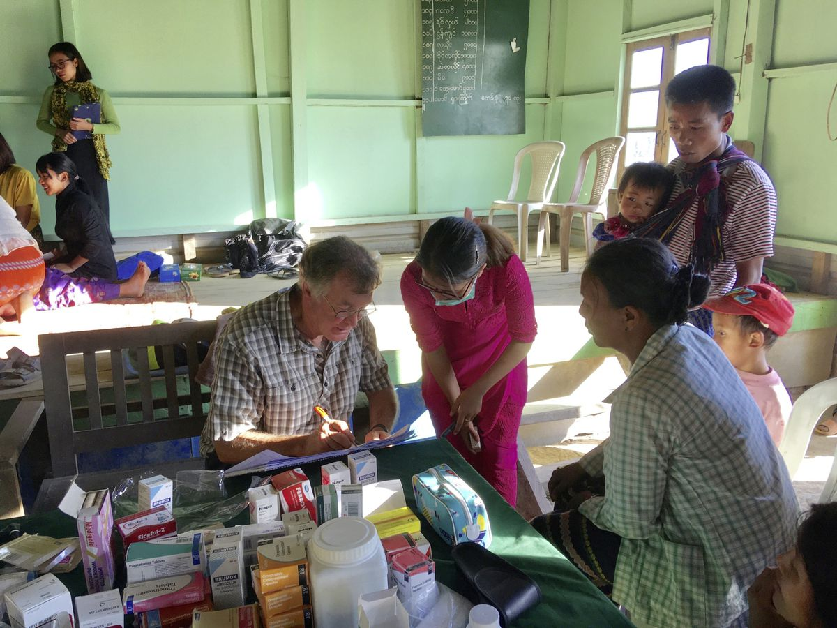 Dr Nick Paluch seeing patients at the Hope Clinic in Lailenpi Town in Myanmar.