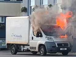 Lorry goes up in flames