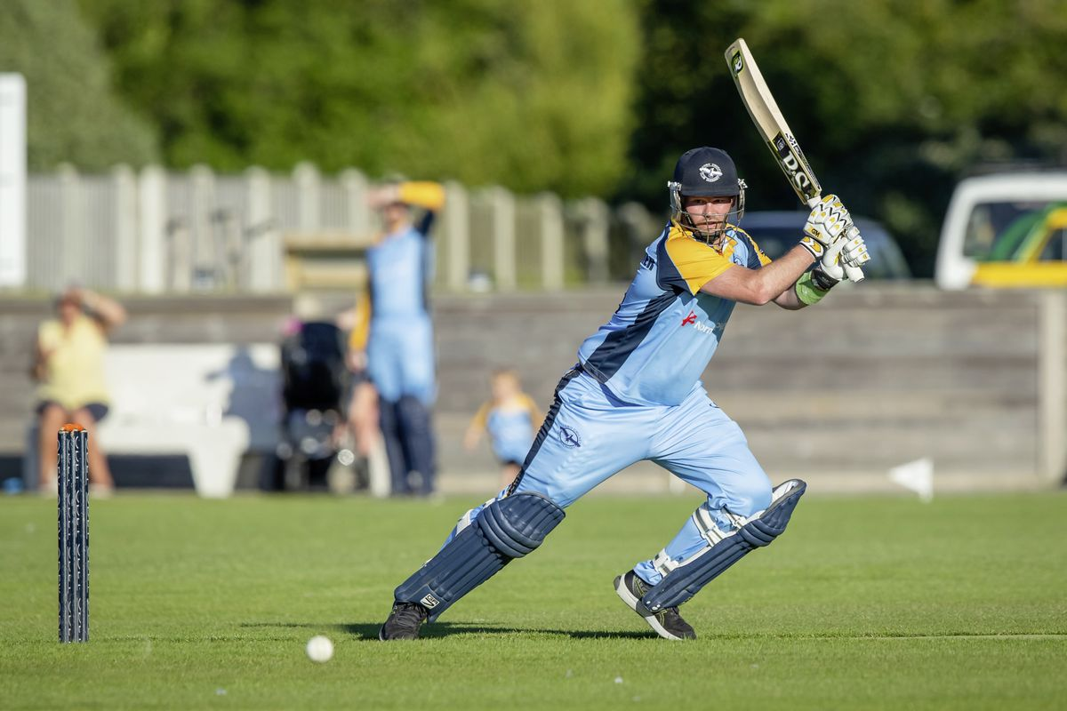 Jamie Nussbaumer on his way to a century for Cobo against Irregulars at the KGV. (Picture by Martin Grey, 29634324)