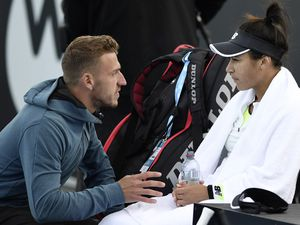Listening in: Heather Watson talks with her coach in yesterday's semi-final clash against Elena Rybakina of Kazakhstan at the Domain Tennis Centre, Hobart. (Picture by Steve Bell/Getty Images, 26918251)