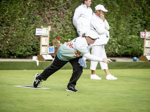 Picture by Sophie Rabey.  25-09-19.  The European Bowls Championships.  Ladies Pairs, Guernsey Vs. France.  Lucy Beere.. (25887160)