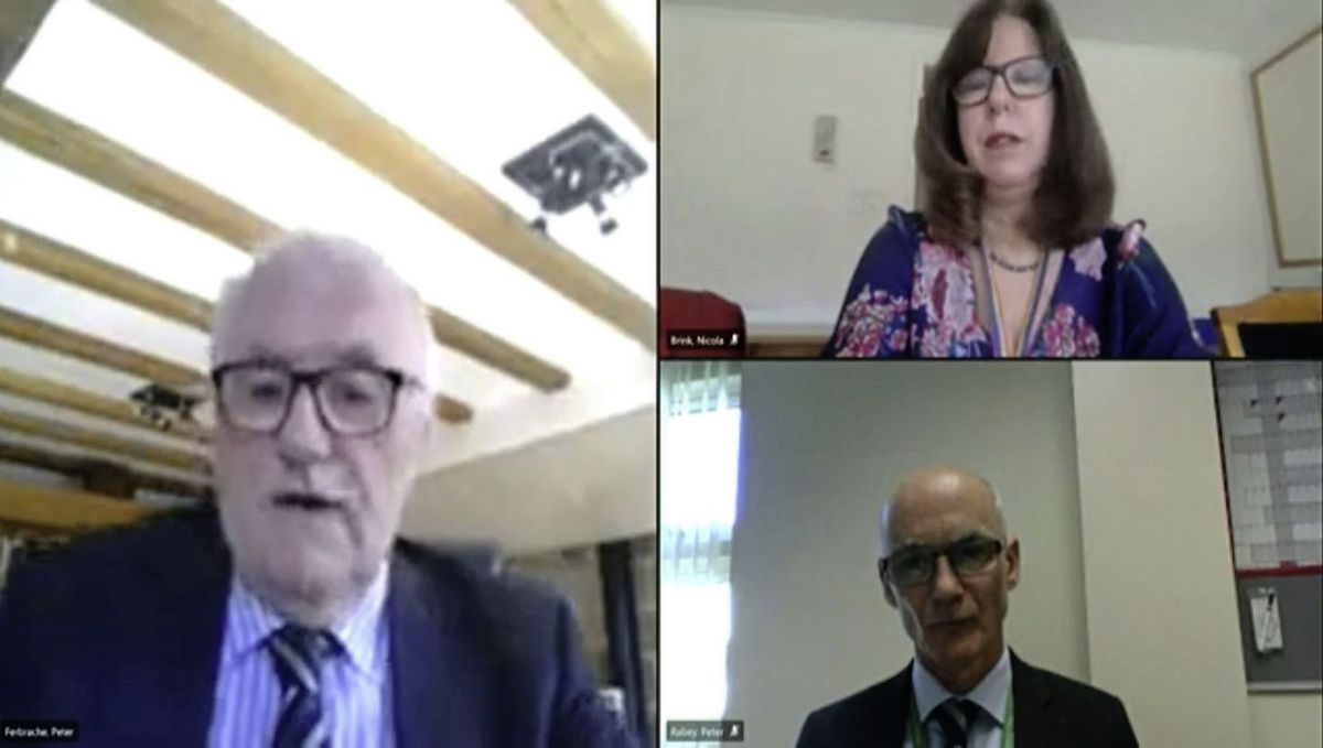 Virtual press conference last month with Deputy Peter Ferbrache and Dr Nicola Brink. (29337534)