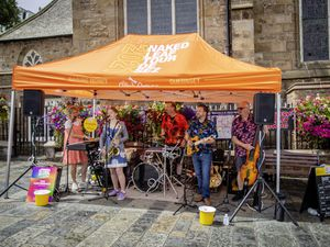 Picture By Sophie Rabey.  24-07-21.  The start of the Guernsey Street Festival which will be running for 2 weeks in St Peter Port Town, celebrating all forms of street performance including music, art, theatre, dance, food and craft.  Band - Western Valley Swing (29797229)