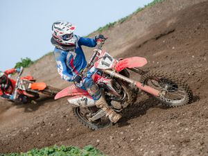 Pic supplied by Andrew Le Poidevin: 02-03-2019...GK&MC Motocross championship at Pleinmont. Round-3...George Symons and Brett Pearce entertained spectators with very close racing.. (28994278)
