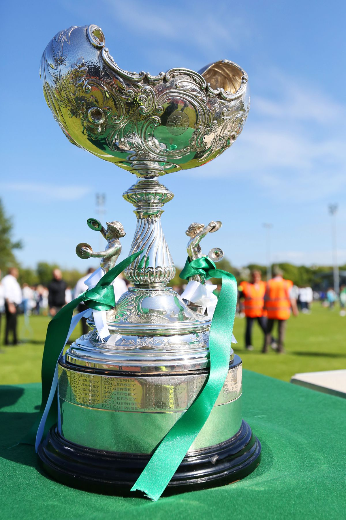 Tie a green ribbon around the old ... The Muratti Vase trophy: By the time the game is played next May it will be four years since it was decorated with green and white ribbons. (28529935)