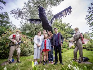 Picture By Sophie Rabey.  25-07-21.  Torteval Scarecrow Festival.  'Crowbusters' by The Stanford Family (no. 43) FIRST PLACE. Pictured Stanford Family L-R Lara (14), Carl, Scarlett (10), Lindsay and Adam (16) (29798184)