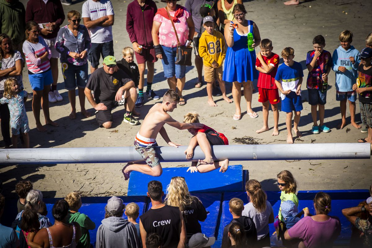 The infamous greasy pole game at the Rocquaine Regatta which takes place on Saturday. (Picture by Sophie Rabey, 29807493)