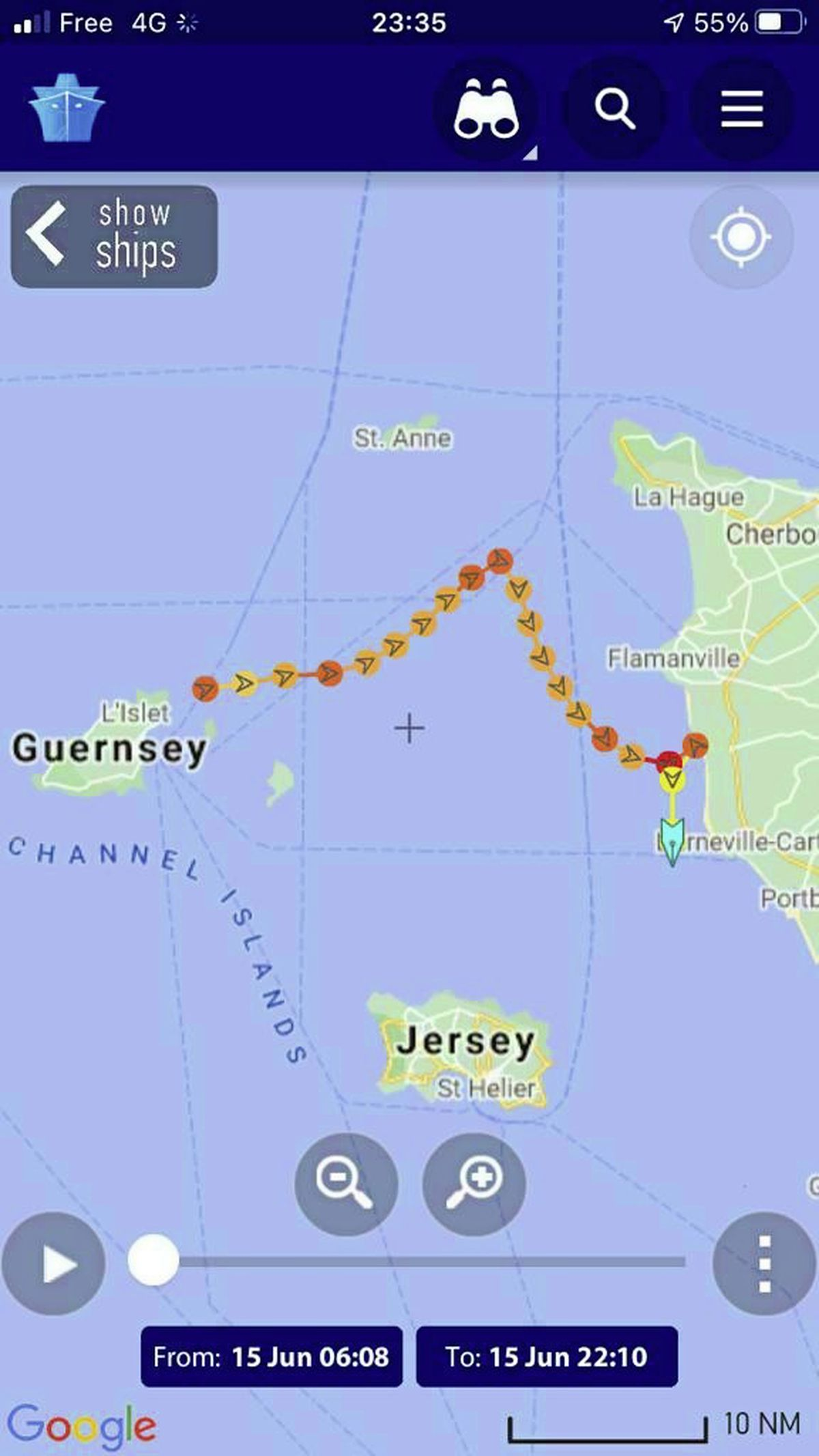 The support boat's tracker showing how the currents meant it was anything but a direct route.