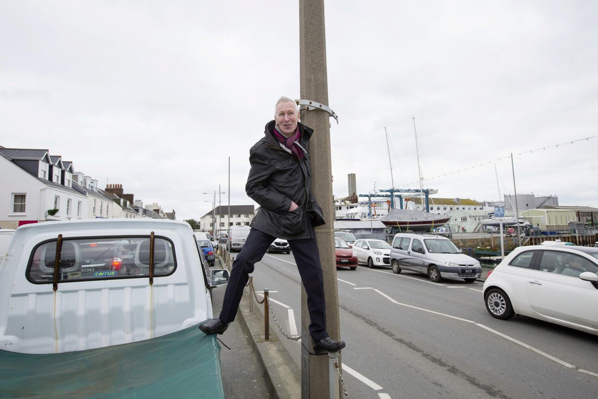 Bridge Christmas lights organiser Martin Search with one of the existing concrete lamp posts. (Picture by Adrian Miller, 29115302)