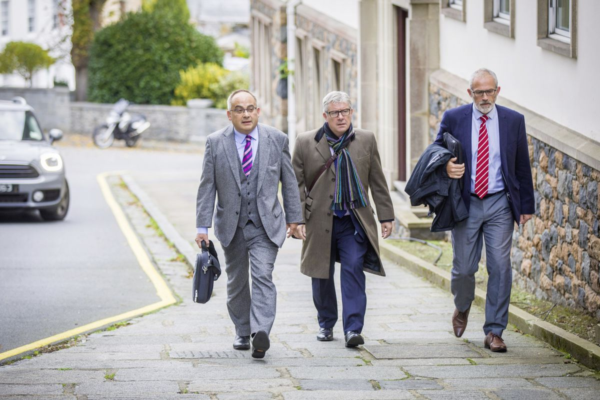 New deputies Chris Blin, Mark Helyar and David Mahoney arriving for the election of Policy & Resources members on Saturday. (Picture by Sophie Rabey, 28809790)