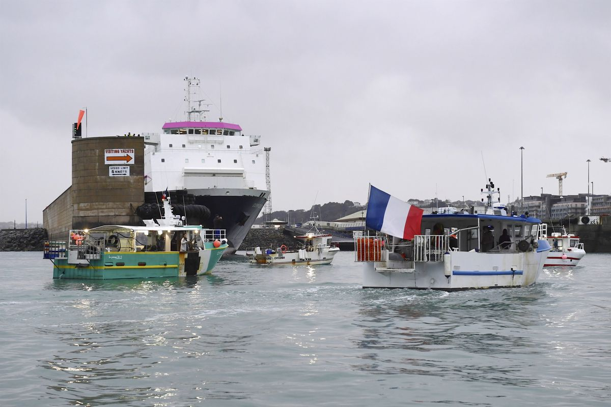 French fishing boats blockading Jersey's harbour yesterday in protest over fishing licensing regulations. Freight ship Commodore Goodwill was unable to leave the port. (Picture by David Ferguson, 29519458)