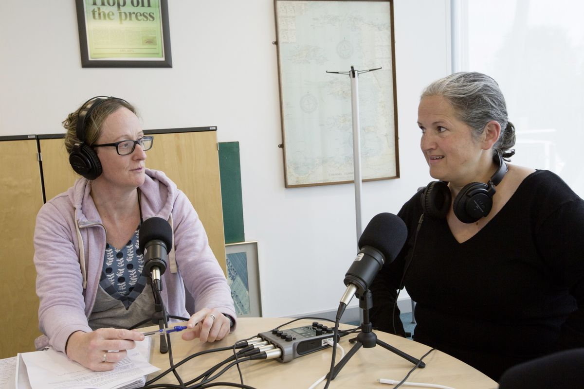 Guernsey Press journalist Helen Bowditch, left, is the host of a new Guernsey Press Politics Podcast. She is pictured with St Peter Port Constable Zoe Lihou. (Picture by Adrian Miller, 29551316)