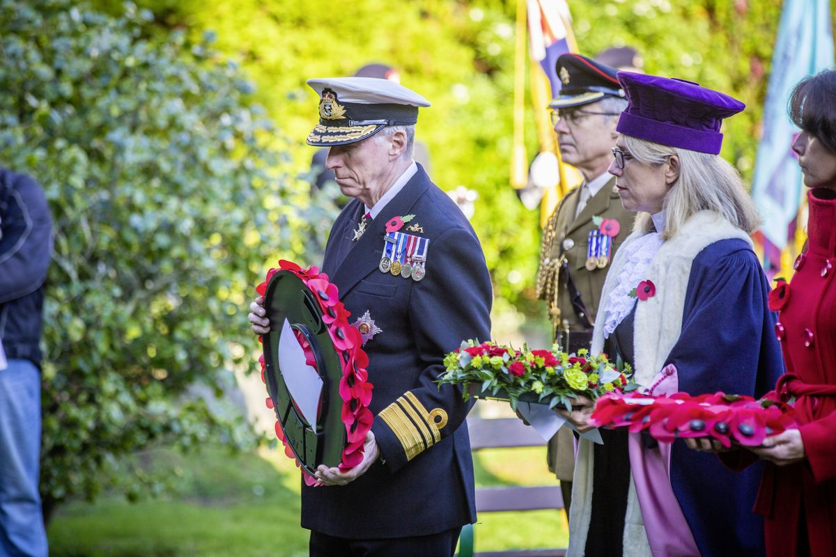 Picture by Sophie Rabey.  29-11-20..The Royal Guernsey Light Infantry Memorial Day Service at the Sunken Gardens..Lt-Governor Sir Ian Corder.. (28962915)