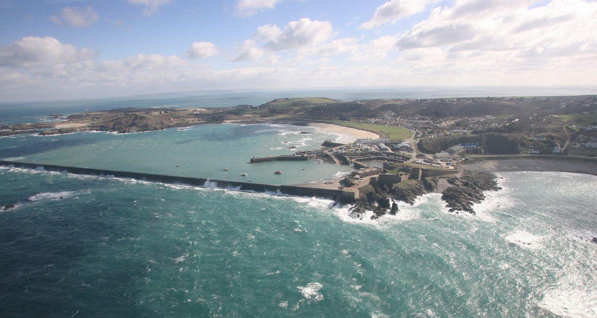 Aerial shot of Alderney breakwater (Picture by Adrian Miller, 28864231)