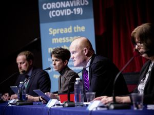 Picture By Peter Frankland. 24-03-20 Press conference at Beau Sejour to announce tougher measures on the population to stay at home during the Covid-19 coronavirus outbreak. L-R - Paul Whitfield, Heidi Soulsby, Gavin St Pier and Ruari Hardy. (27673469)