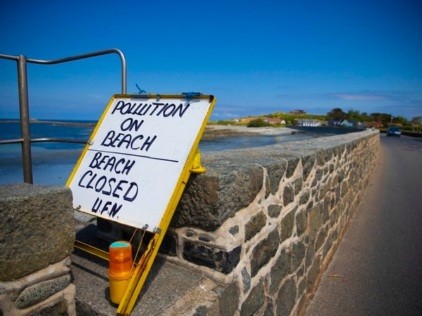 Pollution closes Perelle and Crocq bays