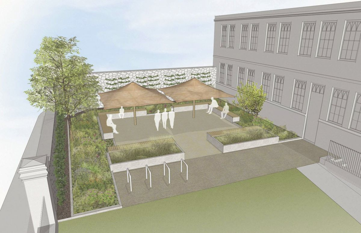 An artist's impression of Elizabeth College's new 'learning garden', which has recently been approved by Planning. It is the space to the left once you enter the main gates, alongside the steps to the main reception and the maths block. (Image provided by Elizabeth College)