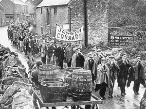 The Jarrow marchers in 1936, on their way to protest in London over unemployment. After the war the Labour Party leadership adopted the march as a metaphor for governmental callousness and working-class fortitude.