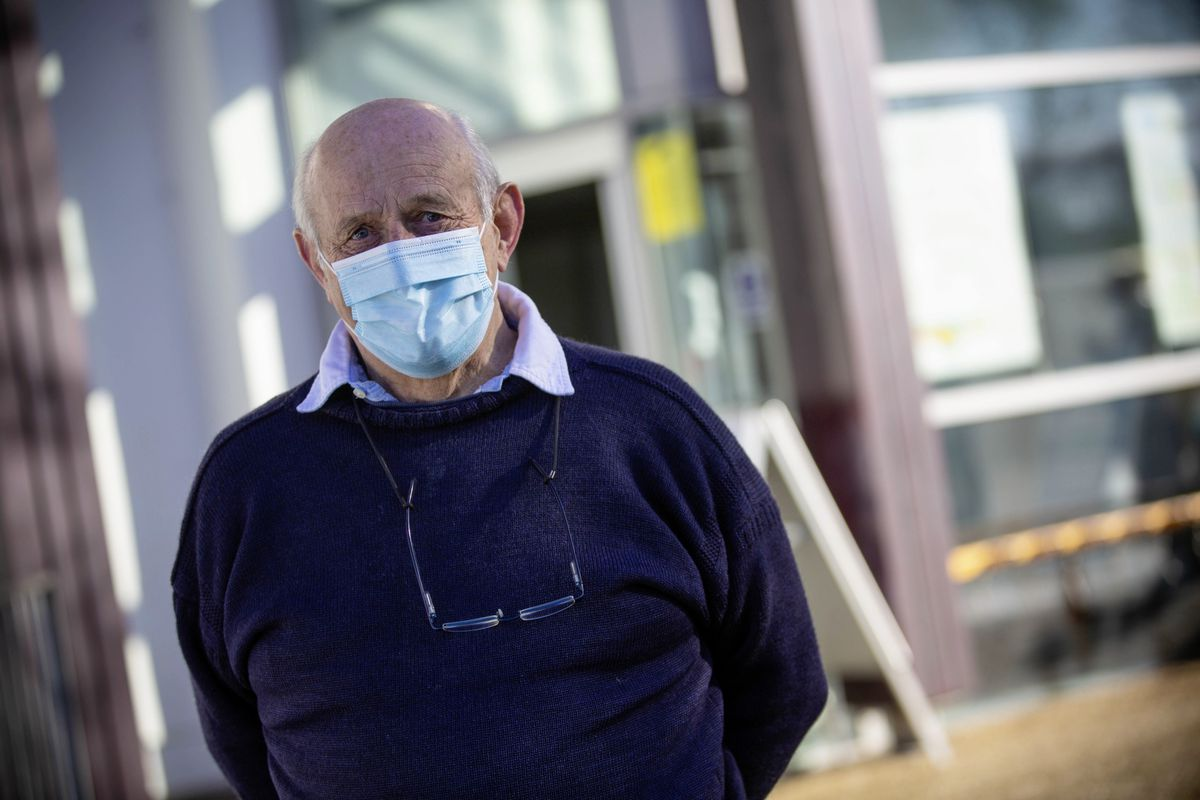 Picture by Peter Frankland. 25-01-21 Guernsey's first working day of the second lockdown. The vaccination centre at Beau Sejour is now operational. Stanley Cleal, 78 (29159688)
