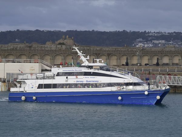 Manche-Iles Express's Victor Hugo in St Helier Harbour. (30101418)