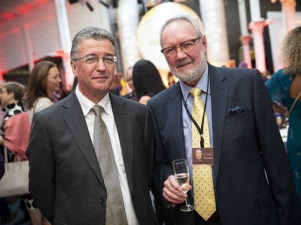 Bailiff Richard McMahon, left, pictured with former Guernsey Press chairman Terry Holder at the 2019 Pride of Guernsey awards night. (Picture by Peter Frankland, 29809550)