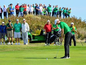 Danny Blondel holes the birdie putt which guaranteed Guernsey overall victory in the 2019 Ravenscroft Inter-Insular at L'Ancresse. (Picture by Gareth Le Prevost, 28242860)