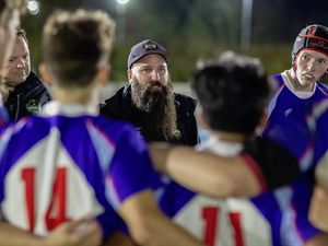Younger audience: Jordan Reynolds addresses the Elizabeth College Rugby 1st XV at Footes Lane under the lights.